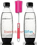 Sodastream 2 Pack Black Source Soda Water Bottles + Kidscare extendable brush - Fits only - Play, Splash, Source, Power, Spirit and Fizzi soda makers Soda Stream