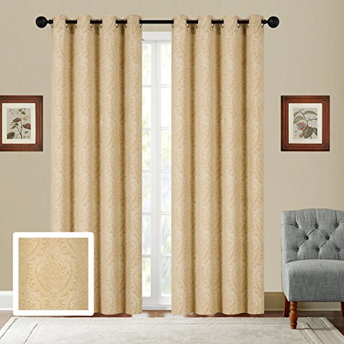 Fancy Collection Set of 2 Panels Curtain Embroidery Modern Jacquard Curtain,108