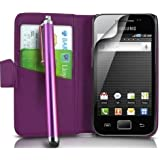 MEGA.DEALS4U - PU Leather Flip Card Wallet Case For SAMSUNG GALAXY ACE GT S5830 S5839i INCLUDING STYLUS PEN + SCREEN PROTECTOR + CLEANING CLOTH (Purple)