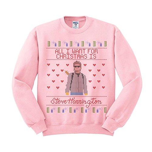 Christmas Pullover - TeesAndTankYou Steve Harrington Christmas Sweatshirt Unisex X-Large Pink