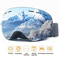 ROCONTRIP Ski Snowboard Goggles Frameless Detachable Dual Layer Lens OTG Spherical Design Anti-Fog 100% UV400 Anti-Slip Strap for Men Women Youth
