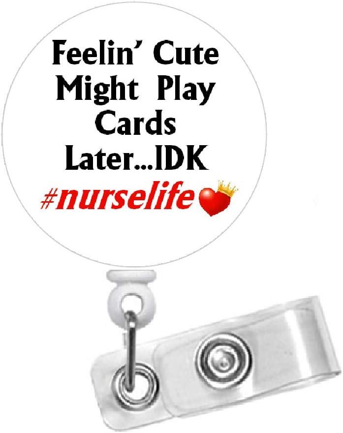 IDR100 Retractable Id Badge Reels Id Badge Reel- Id Badge Holder LVN RN Nurse Id Quarantine Humor Id Badge Reel