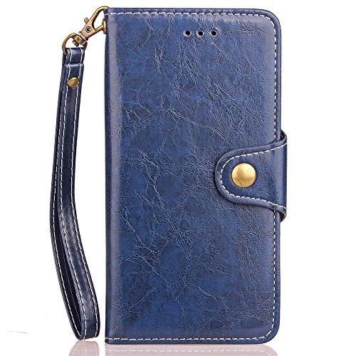 JIALUN-carcasa de telefono Caja de cuero de la PU de la PU de la prima con la conveniente tarjeta y las ranuras del efectivo y el acollador y Kickstand para el iPhone 8 ( Color : Brown ) Blue