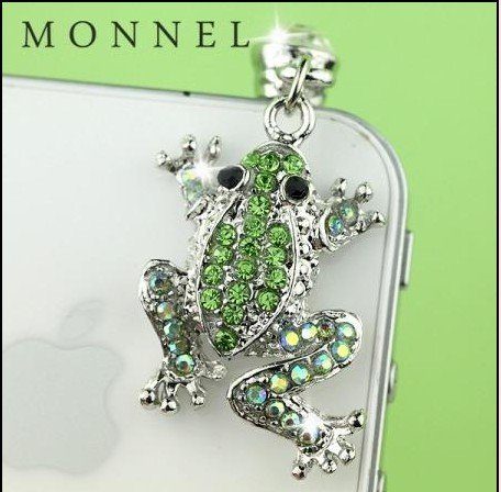 IP418-B Cute Green Crystal Frog 3.5mm Ear Jack Anti Dust Plug Cover for iPhone & Android