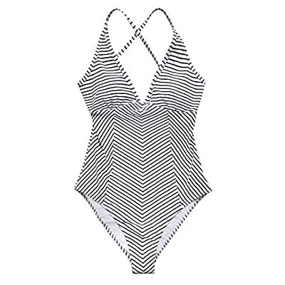 CUPSHE Women's Simple Living Stripe One-Piece Swimsuit Bathing Suit at Women's Clothing store