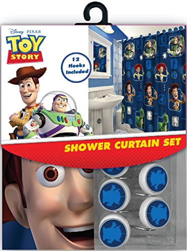 All New Fabric Shower Curtain Set Disney with 12 Matching Ho