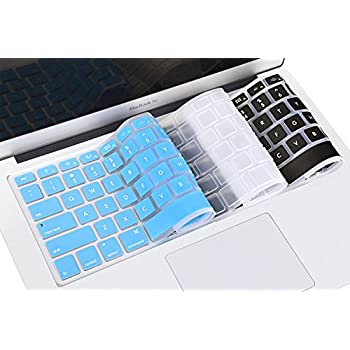 """VCOO 3 Pack Keyboard Cover Silicone Skin for MacBook Air 13"""" and MacBook Pro 13"""" 15"""" 17"""" (with or w/out Retina Display) iMac -(Black / Transparent / Blue)"""