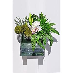 Lush Green Achillea, White Fresh Touch Cymbidium Orchid, Anthurium and Heather Floral Table Arrangement 37