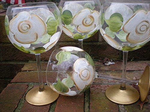 Hand painted white/gold cabbage rose goblets. Set of 4. 20 ounces each. Made in the (4 Hand Painted Wine)