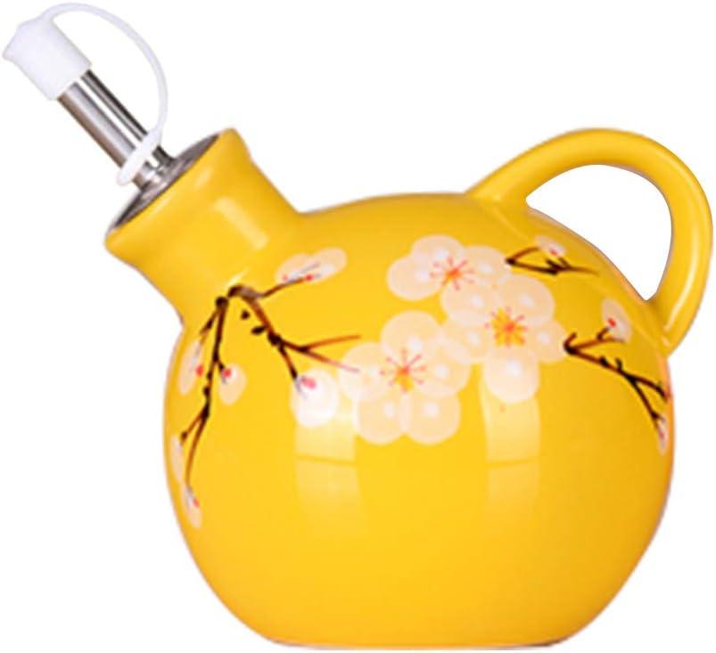 Hand-painted plum ceramic seasoning jar - oil pot, vinegar pot, liquid seasoning pot (MHP001)