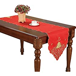 Christmas Holiday Red Table Runners Embroidered Gold Holly Tree 16 By 70 Inch