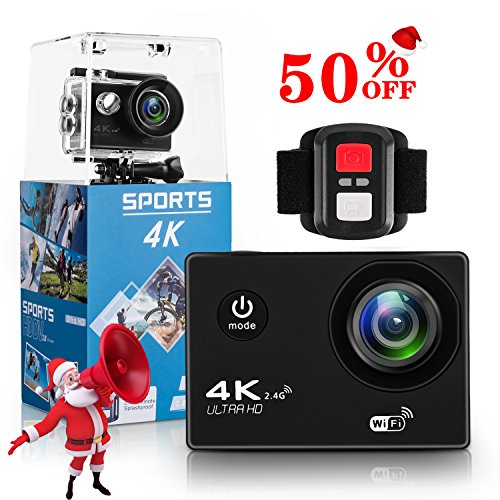 4K Action Camera,Wewdigi HK9000 4K Sports Action Camera Ultra HD 30m Waterproof WiFi 16MP DV Camcorder 170 Degree Wide 2 inch LCD Screen/ Remote Control/ Wewdigi