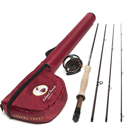 Leland Rod Co. Sonoma Starter Trout Fly Fishing Combo (Includes: Rod, Reel, Line, and Leader) - Fishing Starter Rod Fly
