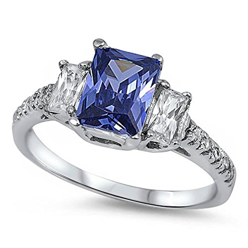 3 Stone Engagement Ring Radiant Cut Simulated Blue Tanzanite Round CZ 925 Sterling Silver, Size-8 ()