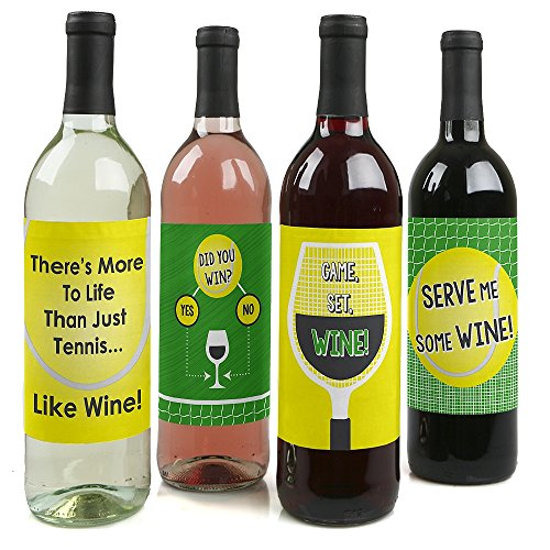 You Got Served - Tennis - Wine Bottle Gift Labels - Tennis Ball Party Wine Bottle Label Stickers - Set of 4 -
