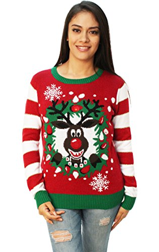 Ugly Christmas Sweater Women's Light-Up Reindeer Wreath, Cayenne, M
