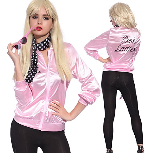 COSFLY Ladies 50S Grease T Bird Danny Pink Satin Jacket Halloween Cosplay Costume with Neck Scarf (X-Large) by COSFLY (Image #3)