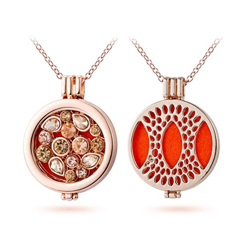 Teardrop Crystal Aromatherapy Essential Oil Diffuser Necklace Rose Gold Hollow Locket Pendant Jewelry for Bride,3 Felt Pads