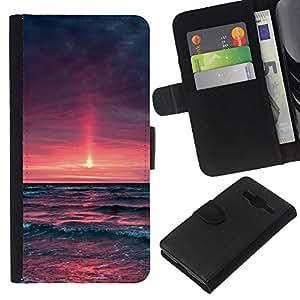 """A-type (Purple Sunset Glow"""") Colorida Impresión Funda Cuero Monedero Caja Bolsa Cubierta Caja Piel Card Slots Para Samsung Galaxy Core Prime"""