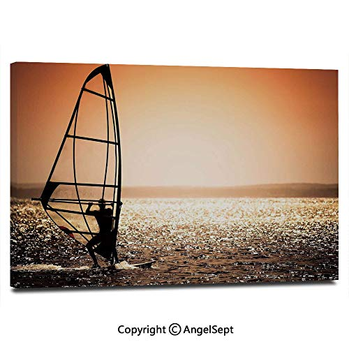 Modern Gallery Wrapped Windsurfer Silhouette Sunset Water Sports Summertime Fun Holiday Pictures on Canvas Wall Art Ready to Hang for Living Room Kitchen Home Decor,12