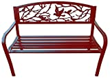Merax Classic Cast Iron Indoor/Outdoor Patio Park Garden Bench ,Red
