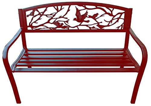 Merax Classic Cast Iron Indoor/Outdoor Patio Park Garden Bench ,Red