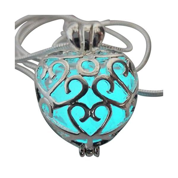 UMBRELLALABORATORY Wishing Heart Fairy Magical Fairy Glow in The Dark Necklace-Aqua-SIL 3