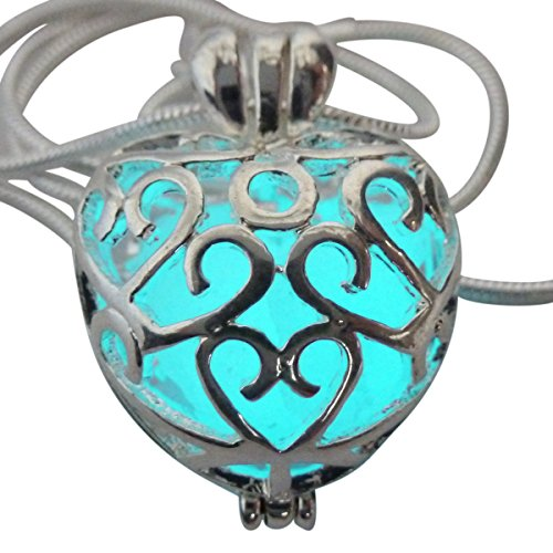 UMBRELLALABORATORY Wishing Heart Fairy Magical Fairy Glow in the Dark Necklace-aqua-sil