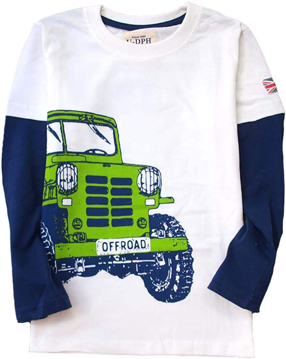 Coralup Boys Long Sleeve T-Shirt Kids Cotton Round Neck Tops Casual Truck Tee for Children 5-14Years