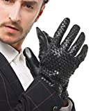 Nappaglo Men's Genuine Nappa Leather Gloves Touchscreen Hand-knitted Winter Warm Driving Cycling Mittens (XXL (Palm Girth:9.5''-10''), Black (Touchscreen))