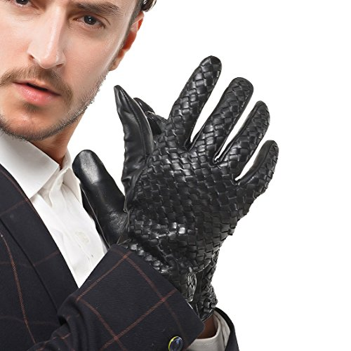 Nappaglo Men's Genuine Nappa Leather Gloves Touchscreen Hand-knitted Winter Warm Driving Cycling Mittens (XXL (Palm Girth:9.5''-10''), Black (Touchscreen)) by Nappaglo