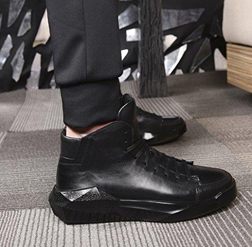 Cuero Zapatos De Los GOLDGOD Tacón Alto De Grueso Cuero Aumentan De De De Marea Zapatos De Los Fondo De Black Zapatos Los Zapatos Los Casuales Retro Hombres Negro qax8wxI