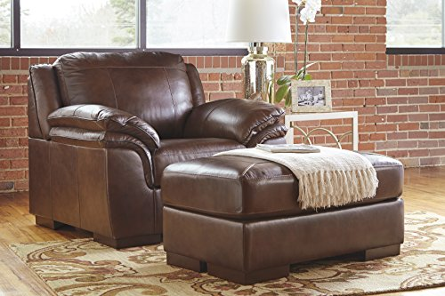 Islebrook Contemporary Leather Canyon Color Chair And Ottoman