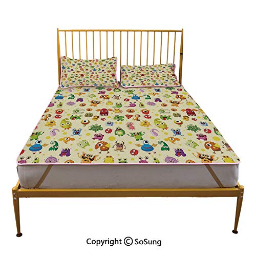 Kids Creative Queen Size Summer Cool Mat,Set of Drawings Different Cartoon Style Characters Cute Monsters Funny Animals Mutants Sleeping & Play Cool Mat,Multicolor