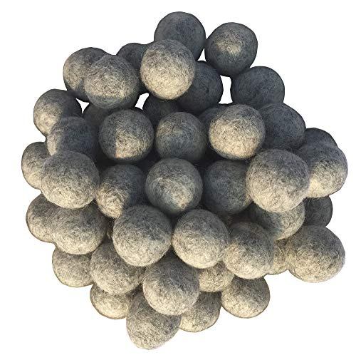 2cm 20mm Wool Felt Balls Beads 100% Natural Wool Felting Woolen Felted Fabric for Home Decor Dream Catcher DIY Baby-Mobile Garland Crafts Handcrafts Project DIY (Light Gray -