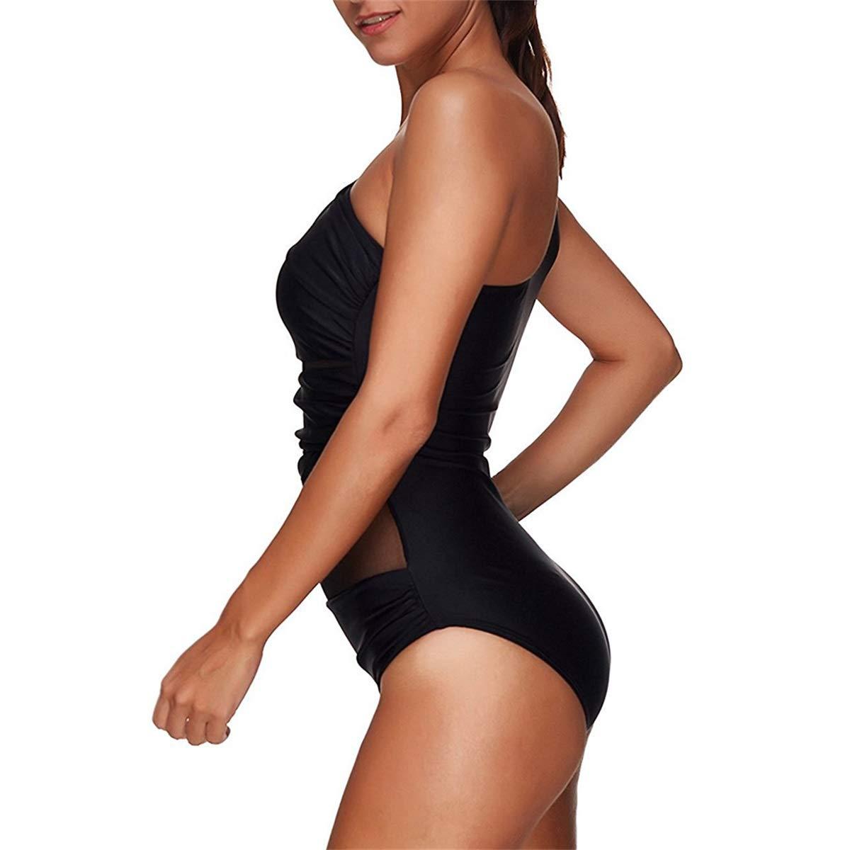 heekpek Traje de Ba/ño Mujeres Hombro Sin Respaldo Monokini Beach Fashion con Gasa Bikini Talla Grande Cintura de Malla Beachwear para Mujer