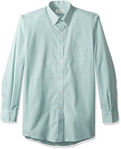 Chicory Apparel - Van Heusen Men's Regular Fit Gingham Button Down Collar Dress Shirt, Green Chicory, XXX-Large