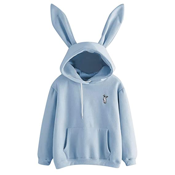 Womens Teen Girls Long Sleeve Hoodie Sweatshirt Cute Rabbit Bunny Ears Casual Solid Hooded Pullover Blouse Tops at Amazon Womens Clothing store: