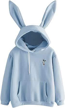 HGWXX7 Women's Hoodie Cute Soft Rabbit Bunny Ears Pullover Solid Color Long Sleeve Sweatshirt