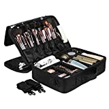 SONGMICS Portable Makeup Train Case 3 Layer Cosmetic Travel Case with Dividers Black UMUC15B