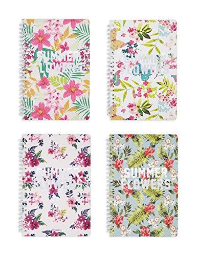 Summer Notepad (Rosaliny A5 Spiral Bound Notebook and Journal Set-Pack of 4 Summer Flower Planner …)