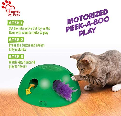 Furever 3 Replacement Cat Toy Attachments to use with The Pop and Play; Includes One Mouse, One Fish and One Feather. Ideal for Your cat, Interactive Way. Best Cat Toys Ever 6