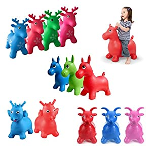 Kids Inflatable Hopper Jumping Bouncy Animal Rubber Baby Ride On Toy Horse Goat Deer Elephant Children Fun Gift
