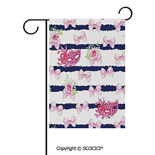 SCOCICI Double Sided Washable Customized Unique 28x40(in) Garden Flag Venetian Style Carnival Masks on Stripes with Satin Bows Roses Flowers,Pink White Blue,Flag Pole NOT Included