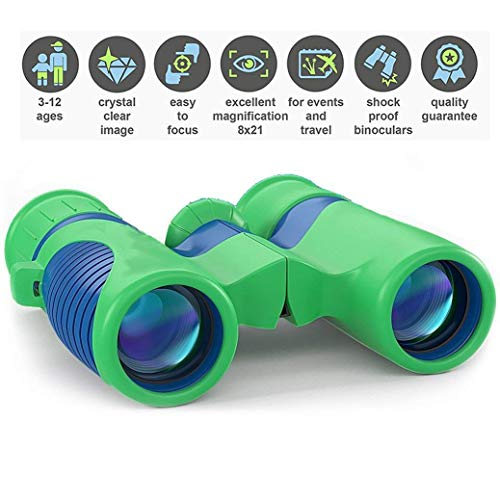 Professional Kids Binoculars with HIGH Magnification 8x21 - Easy & Shock Proof - Bird Watching Science & Telescope Children's Toys - Hiking Hunting - Educational for Boys and Girls (USA)