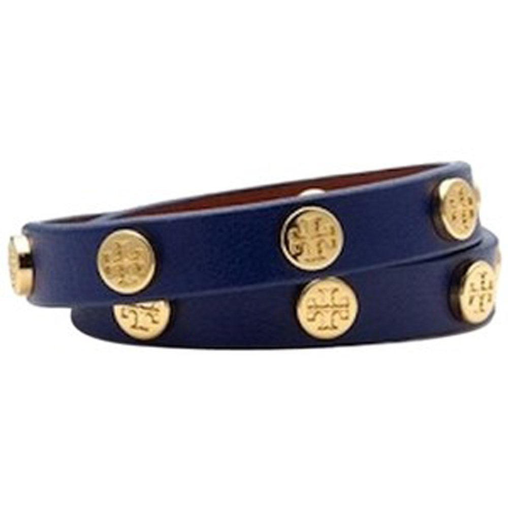 Tory Burch Double Wrap Logo Bracelet NAVY BLUE Shiny Brass Gold Studs
