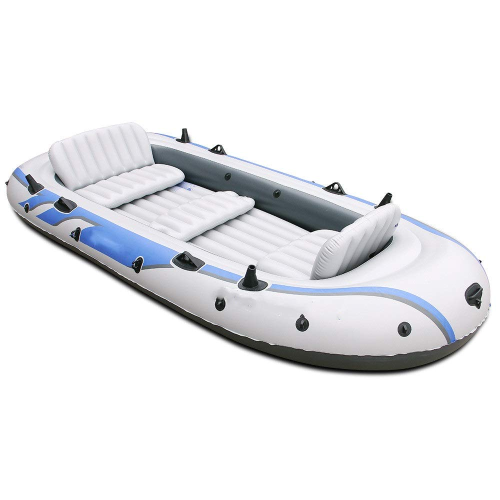 Durability Inflatable Kayaks Durable Backrest Inflatable Boat Dinghy 4 People/5 People Thick Hovercraft Fishing Boat Kayaking Widening (Color : White, Size : 165x315cm) by BoeWan