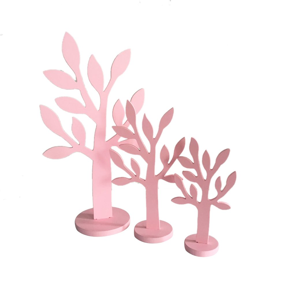 3pcs/set Simulation Wood Tree Small/Mid/Tall Font Pink Wood Home Decor Gift Crafts by floor88 (Image #2)