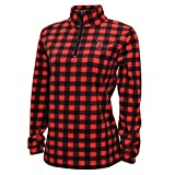 Crable Adult NCAA Women's Campus Specialties Quarter Zip Buffalo Check Fleece, Red/Black, Medium