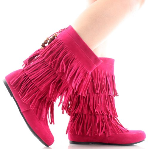 Gray Fringe Black US Suede Red M 6 Pink Mid Tassle Calf Women's Camel Beaded Moccasin B Pink Faux Brown Boots z17SxwR